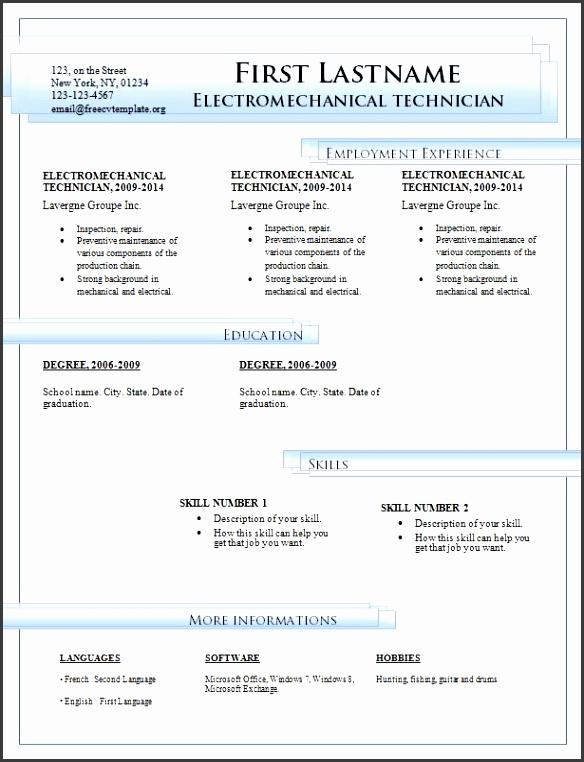 Microsoft fice Resume Templates 2014 Download Free Resume Templates For Microsoft Word Free Cv Template