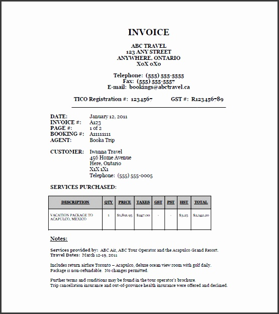 Sample Travel Agency Forms Templates