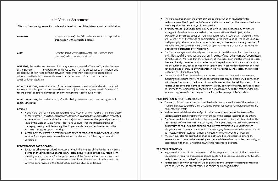 construction joint venture agreement template joint venture agreement template microsoft word templates