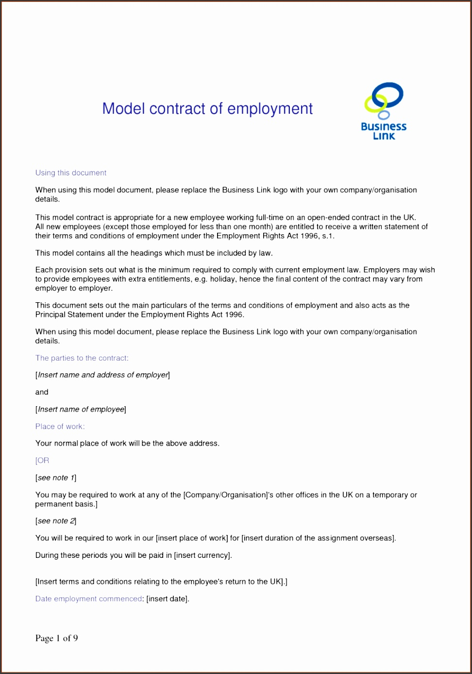 Employment Agreement Contracts Job Contract Template Exol Gbabogados Co Employee Free Download