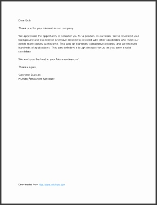 Sample Candidate Rejection Letter