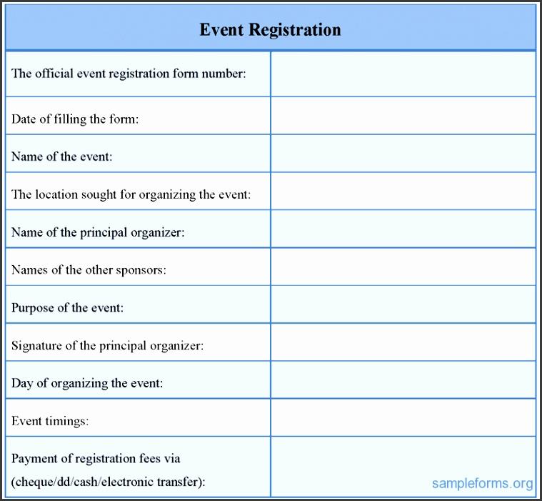 registration form sample for event 507