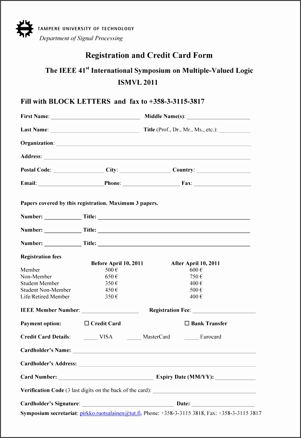Perfect Registration Form Template Word Document