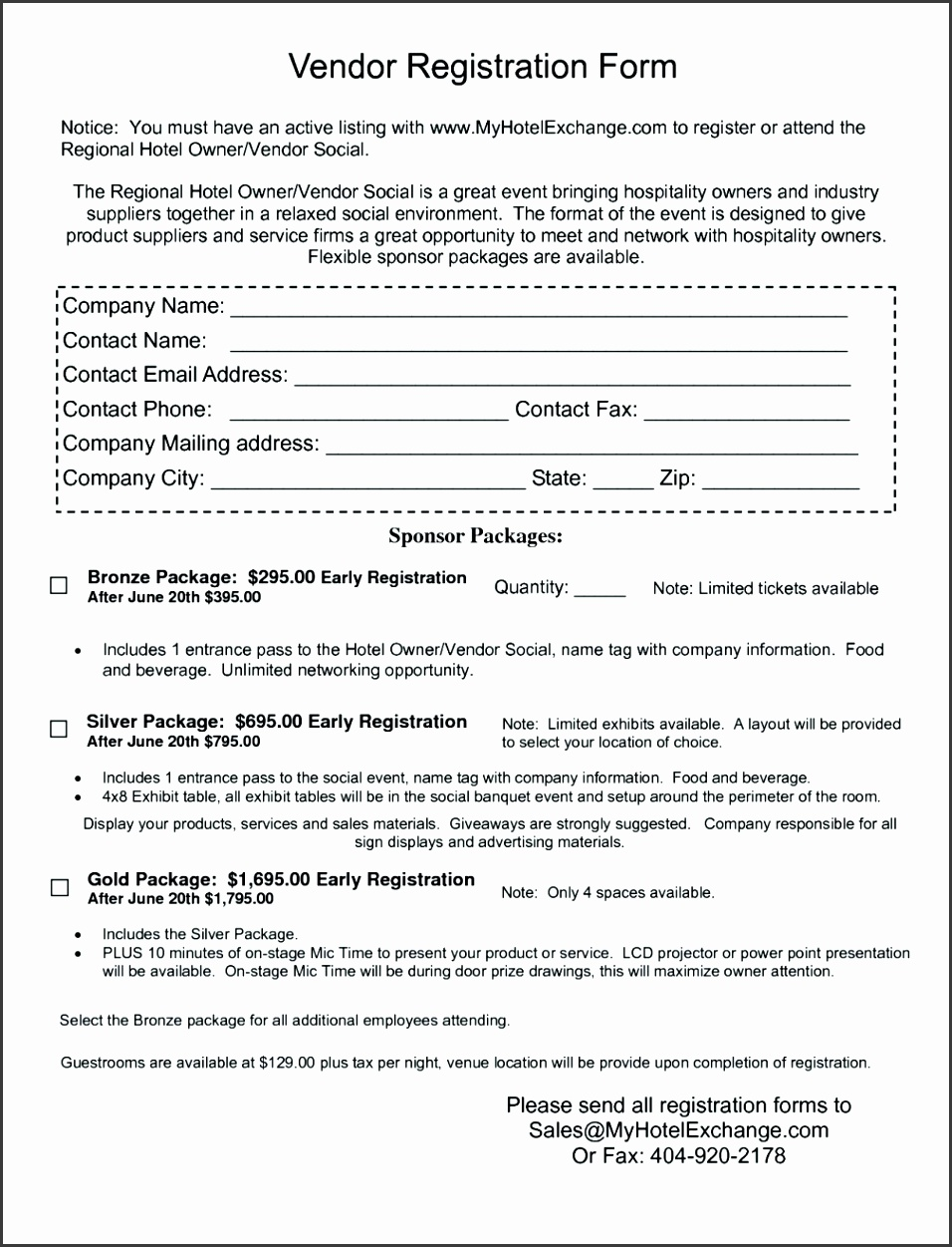 Sample Event Vendor Application Form on reunion template,