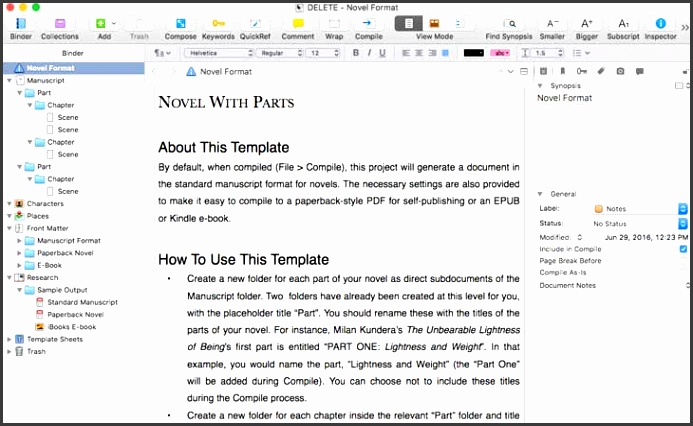 Scrivener vs Evernote Novel Parts Template