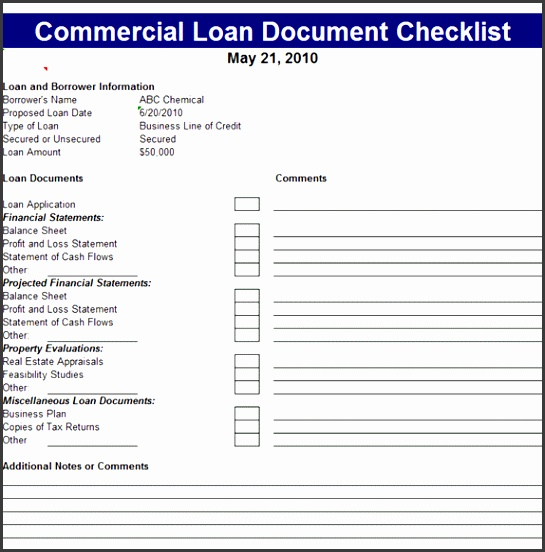 Below is the preview image and link of this wonderful mercial Loan Document Checklist Template