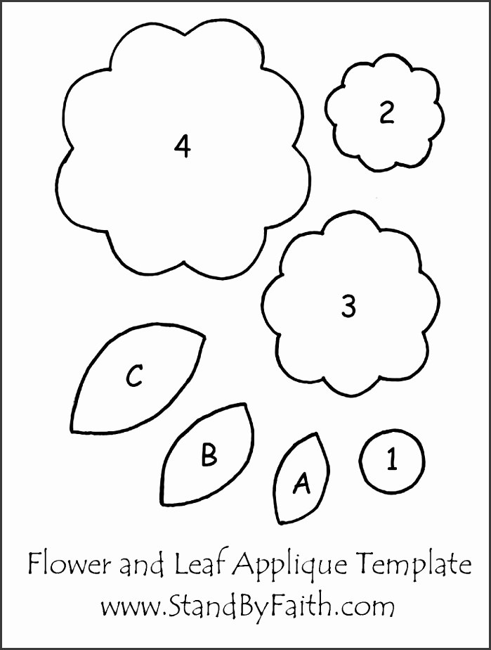 Leaf and Flower Applique Template