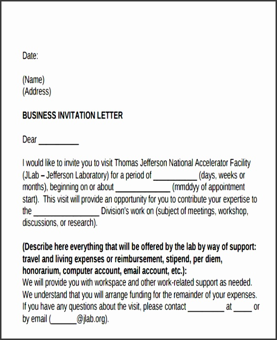 Formal Business Invitation Letter Example