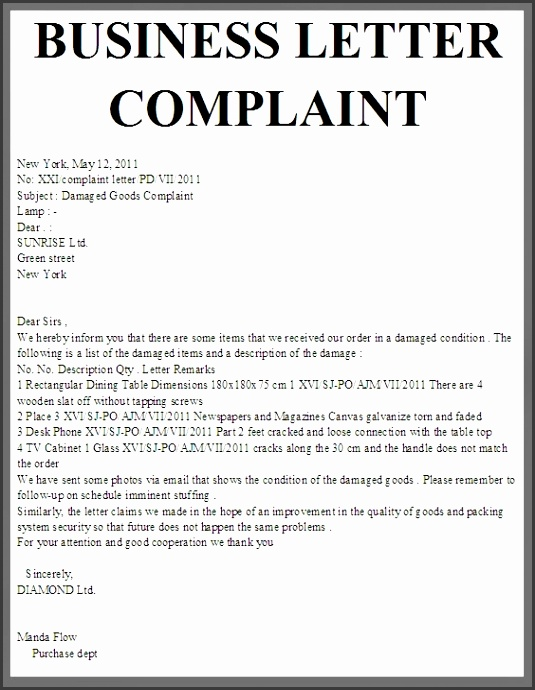 Sample Business Letters Format Sample Business plaint Letter