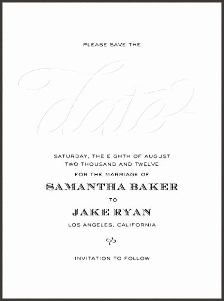 """Black Tie Script Blind Letterpress"" Save the Date by bluepoolroad Paperless Wedding Invitations lineWedding StationaryFormal"