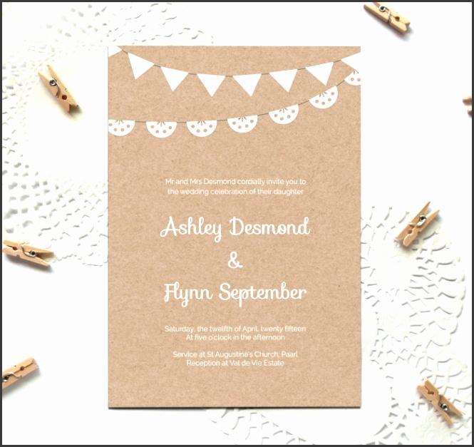 free kraft paper printable wedding invitation template
