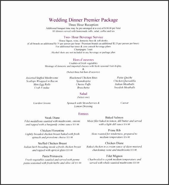 Wedding Dinner Menu Template