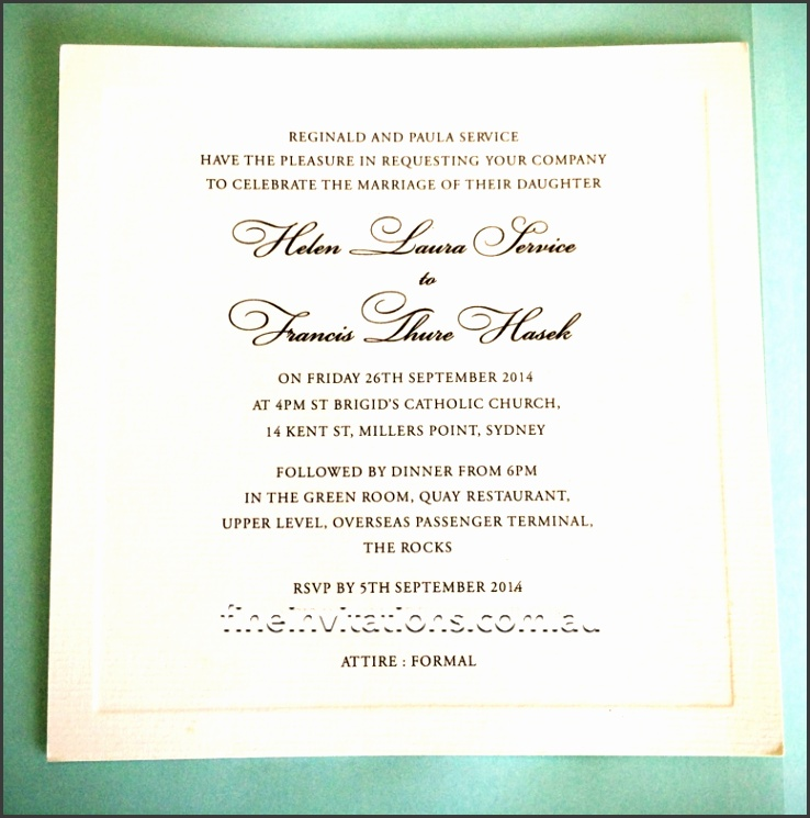 Formal Sydney wedding invitation ivory embossed