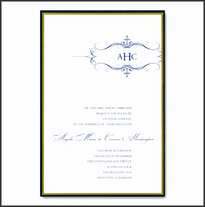 black and blue formal wedding invitations As