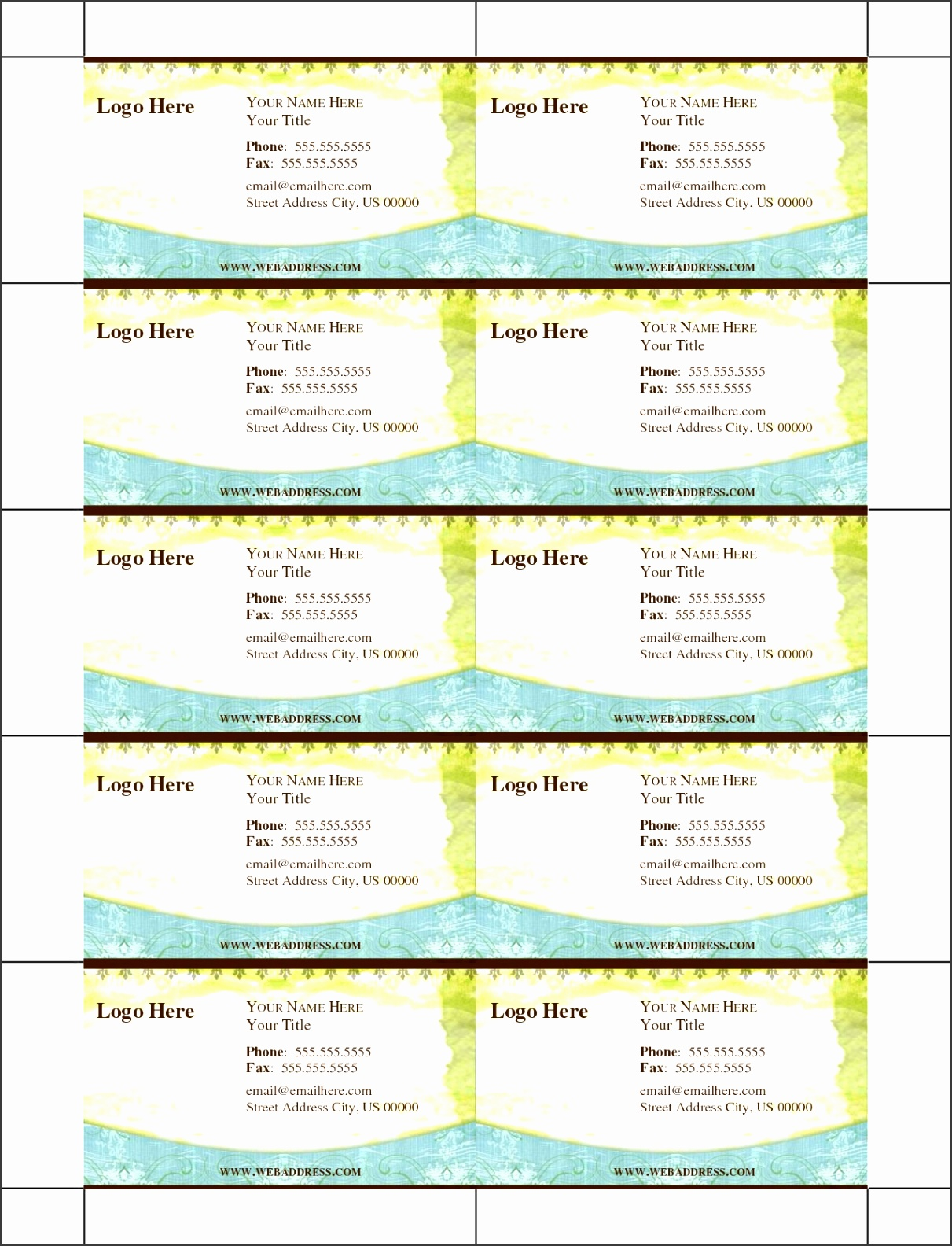 Free Blank Business Card Template Word Sweetbook pertaining to Free Printable Business Card Templates 9410