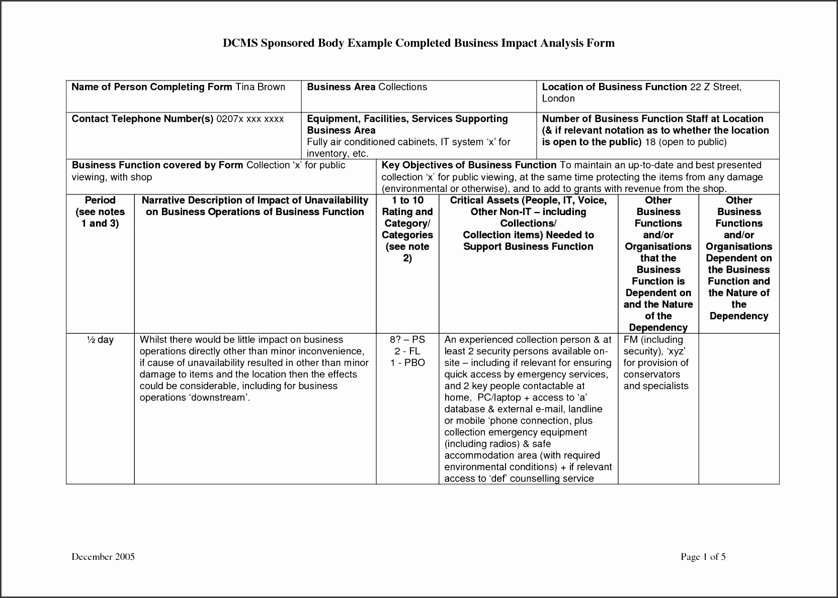 New Business Impact Analysis Template Full size