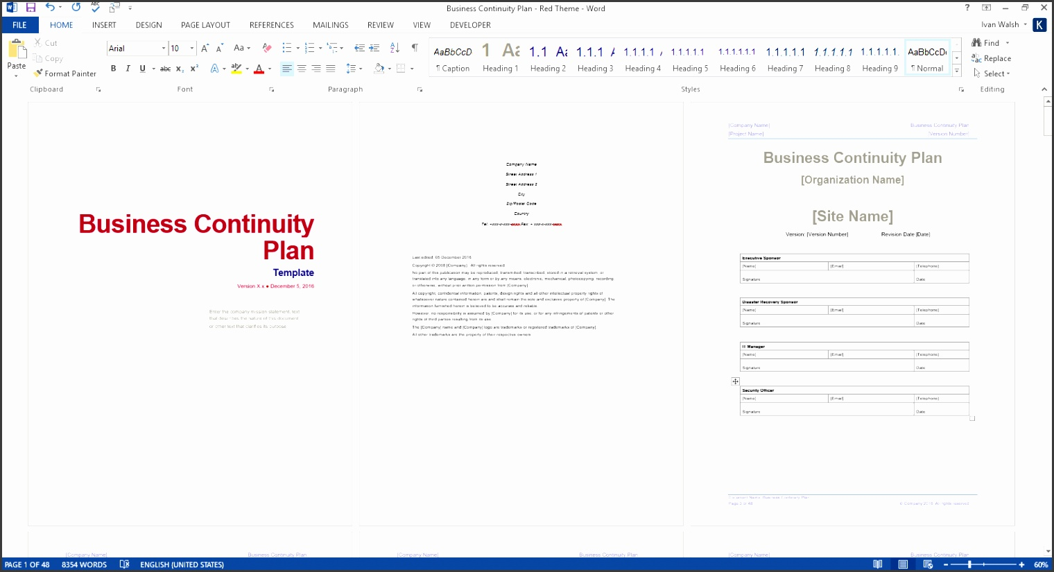 Business Continuity Template Ms Word Red Bussines Plan Free Disaster