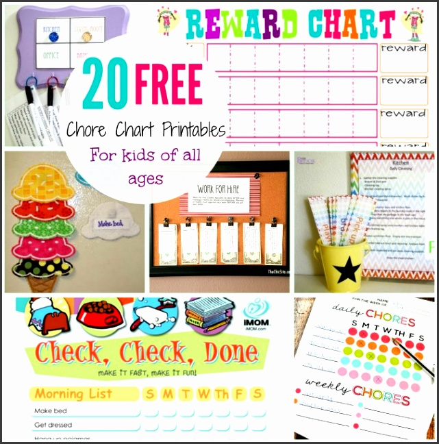 20 free printable chore charts for kids