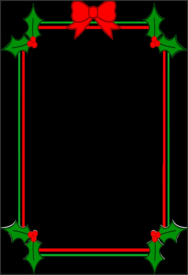 Christmas border with holly and red ribbons
