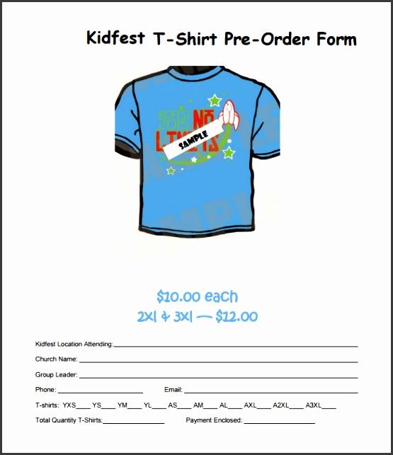 Free Printable Kidfest T Shirt Pre Order Form Template