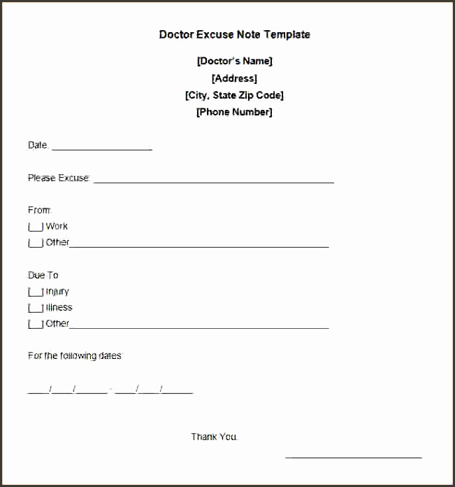 Free Printable Doctor Notes Free Doctor Excuse Note Template 0e13b0