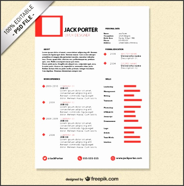 Creative resume template free Free Psd