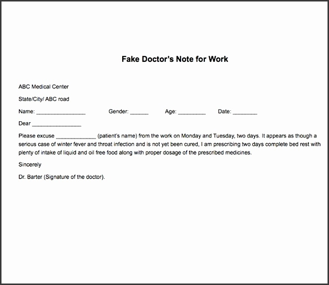 fake doctor note work