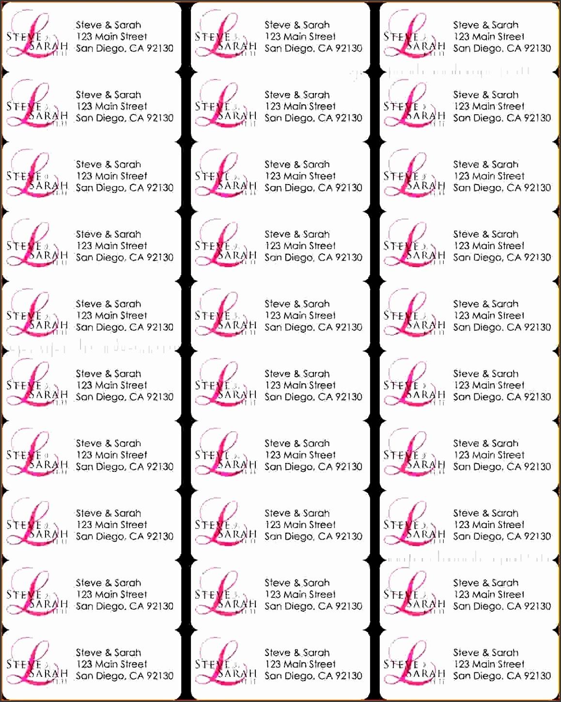 Return Address Labels Template 30 Per Sheet