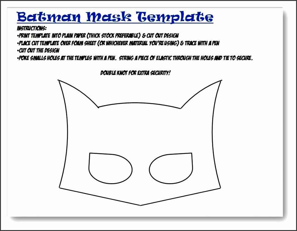 Free Template Batman Mask Printable size