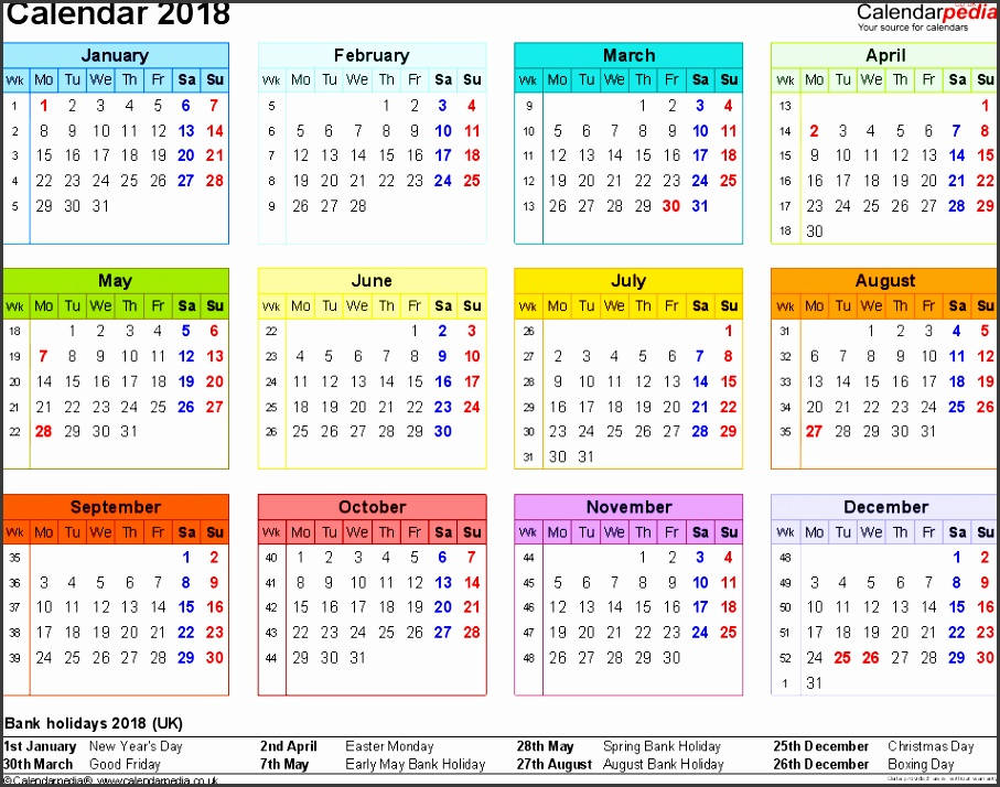 Template 8 Yearly calendar 2018 as Word template landscape orientation year at a