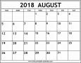 5  Free Printable Calendar Template August 2018