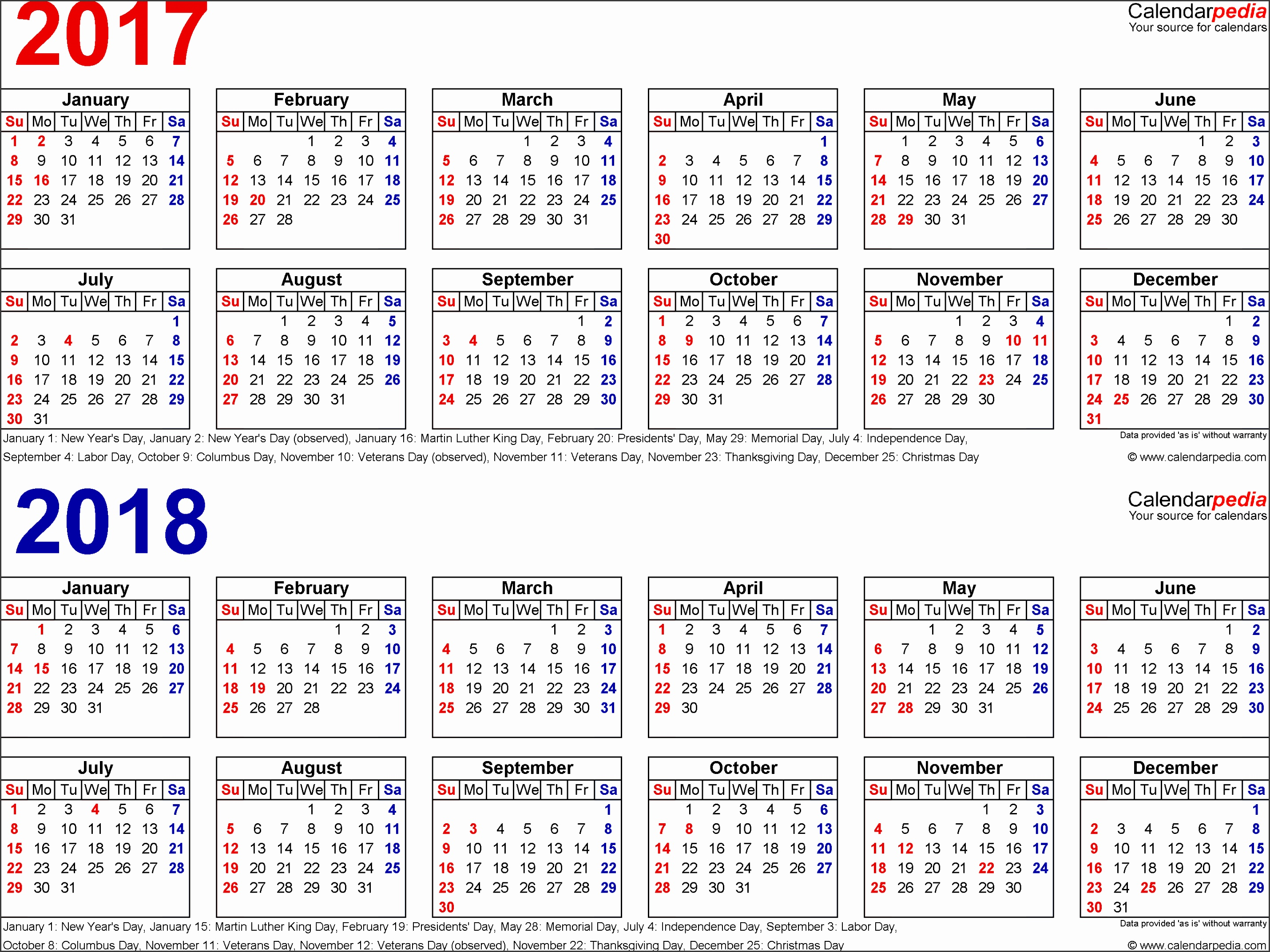 Template 1 PDF template for two year calendar 2017 2018 landscape orientation