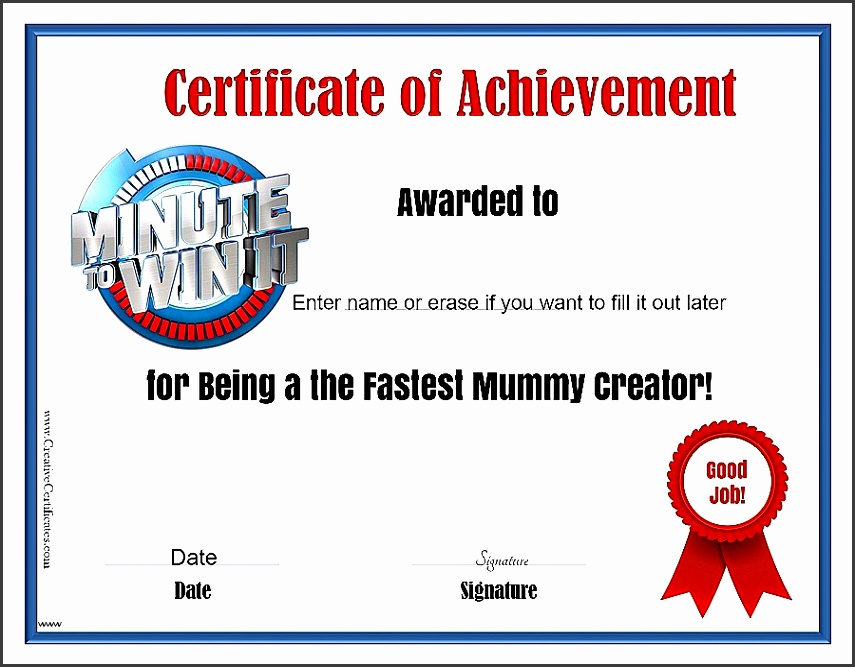 Free Fun Certificate Templates Beautiful Minute To Win It Games Free Printables