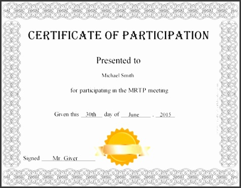 Participation Certificate Template Free Certificate Participation Customize line Print Participation Certificate Template 21 Free Word Pdf Psd
