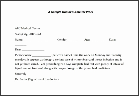 22 Doctors Note Templates – Free Sample Example Format Download in Free Printable Doctors Note For Work