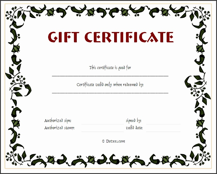 Present Certificate Templates Floral Gift Certificate Template with Printable Gift Certificates Templates Free 2577