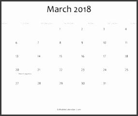 Editable Calendar March 2018