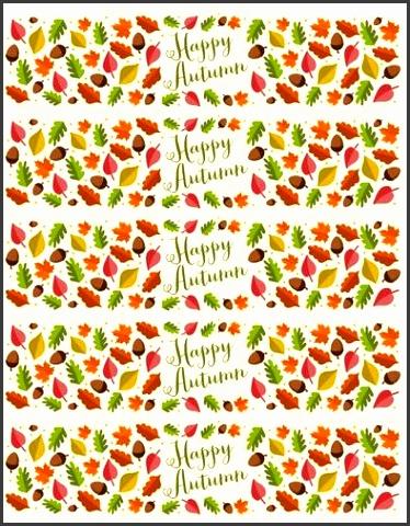 Happy Autumn Water Bottle Labels Label Templates OL1159 lineLabels