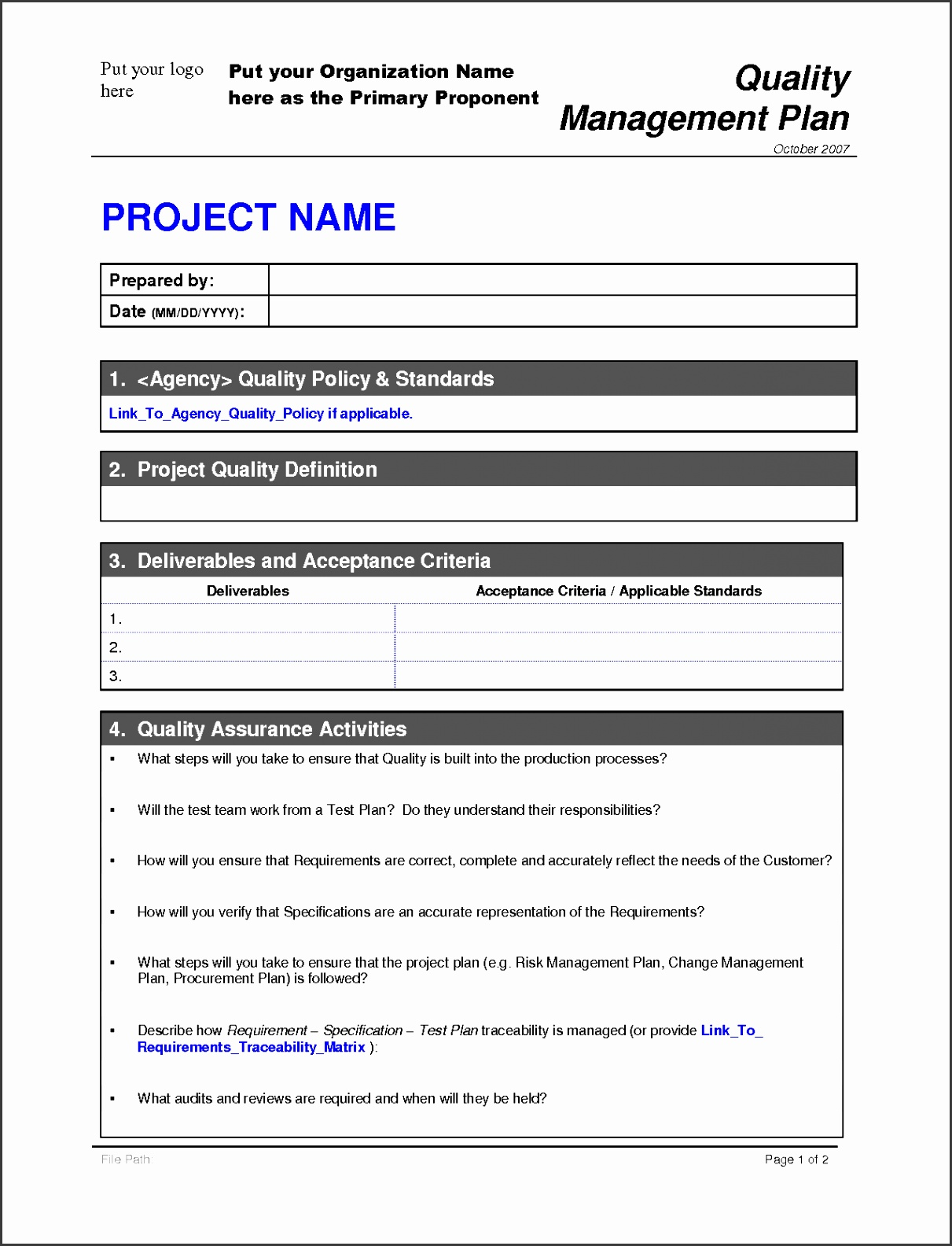 6 Free Project Plan Template Word Sampletemplatess Sampletemplatess