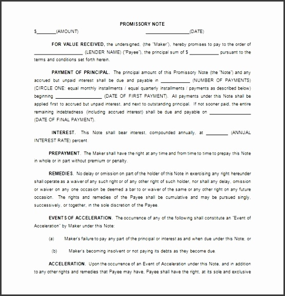Promissory Note Template 34 Free Word Pdf Format
