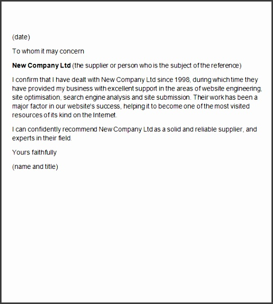trade references letters sample