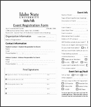 Printable Event Registration Form Template