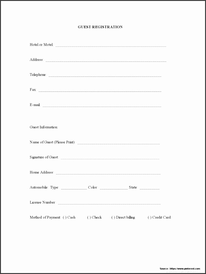 Free Hotel Guest Registration Form Template