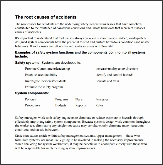 Accident Root Cause Analysis PDF Free Template