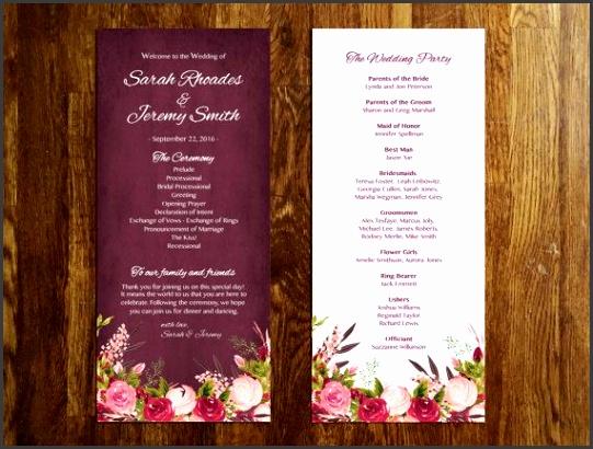 Floral Wedding Program Template Editable by PetitePrintShoppe