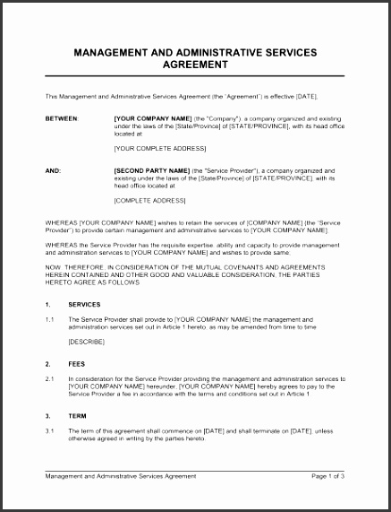 service agreement template management and administrative services agreement template free