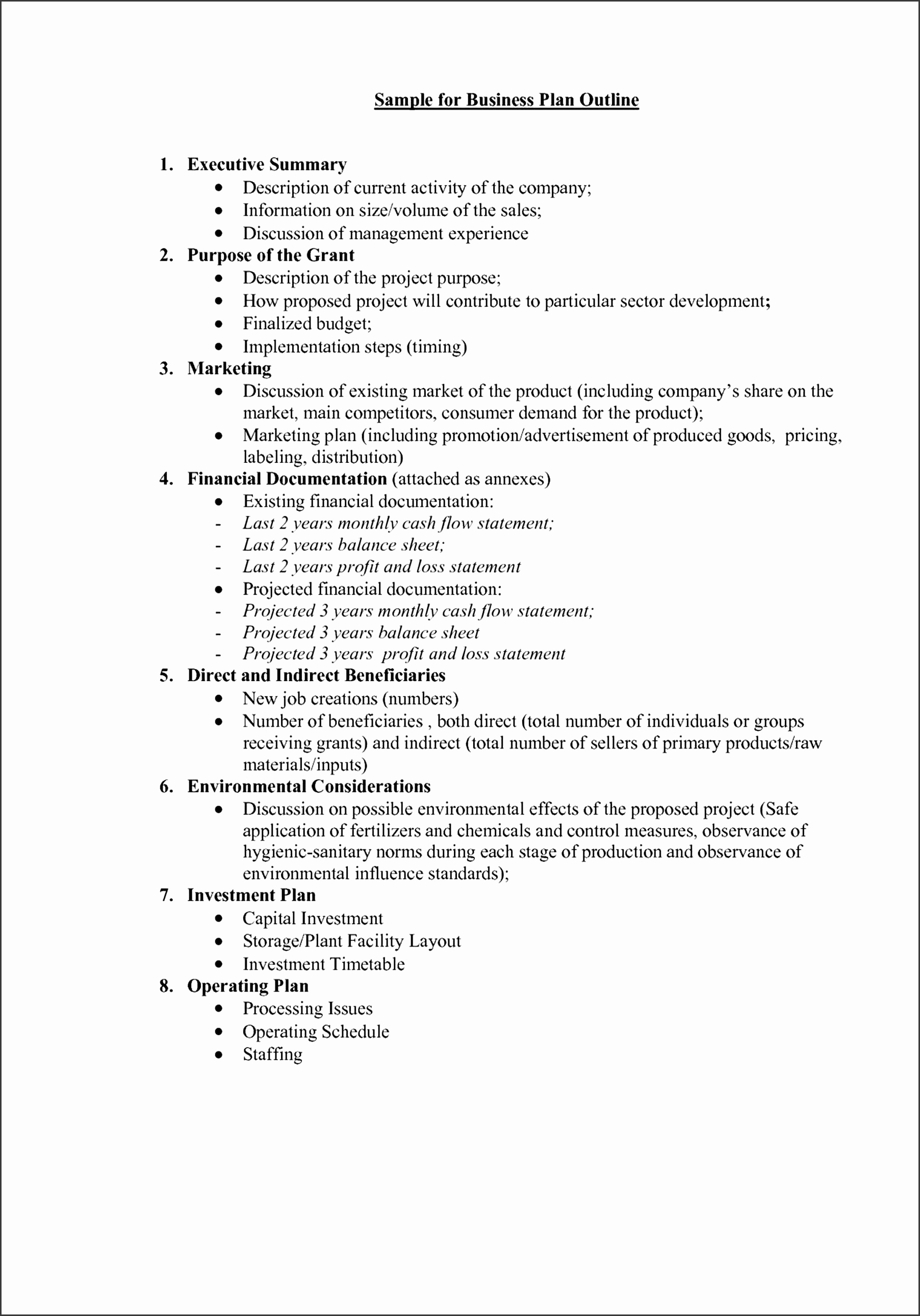 simple small business plan template free