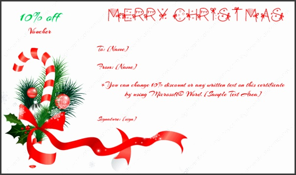 Gift Certificate Template Christmas