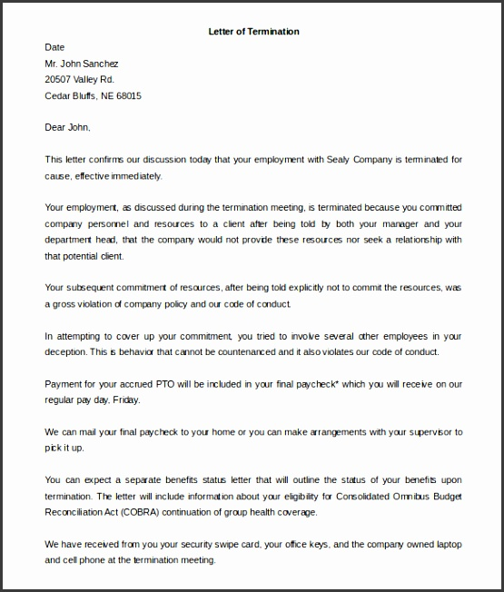 Free Download Employee Termination Letter for Cause Sample