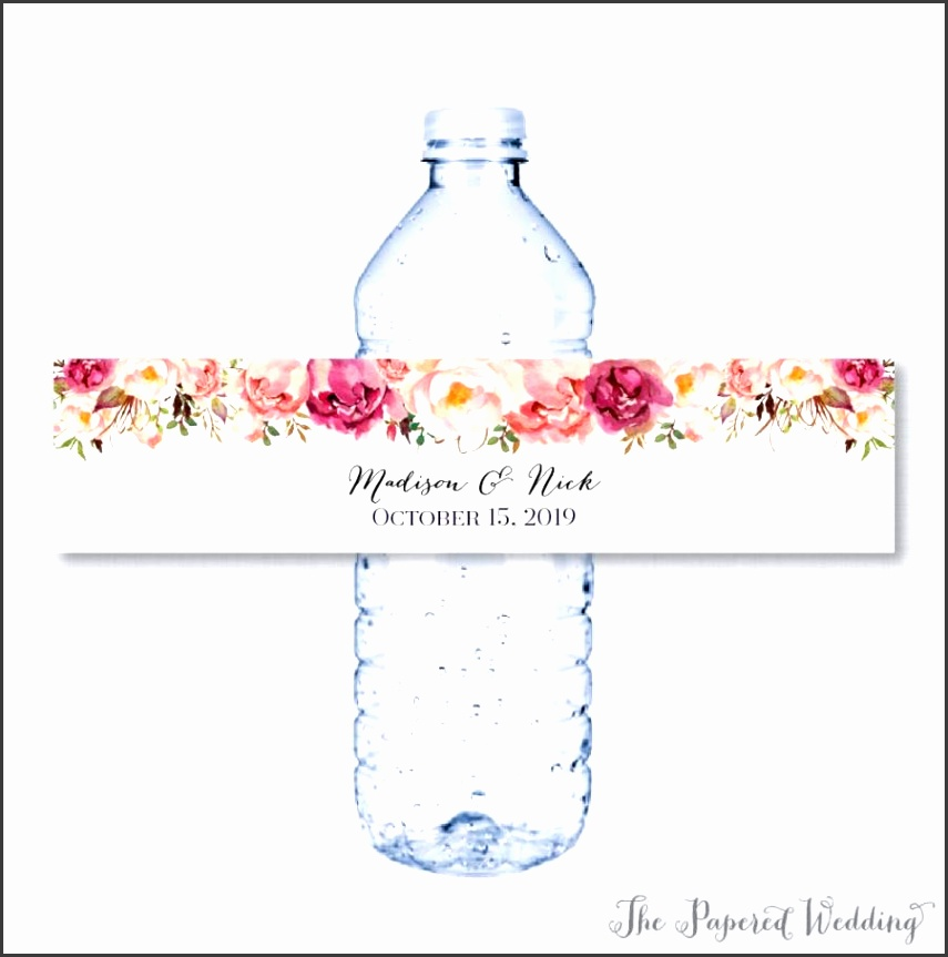 Printable OR Printed Wedding Water Bottle Labels Rustic Pink Flower Custom Water Bottle Labels Personalized Water Bottle Labels 0004